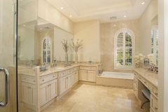 Traditional bathroom in cream and beige colors