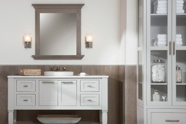 Bathroom remodeling in Miami, FL with standalone sink and custom cabinets