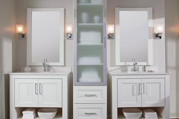 Bathroom remodeling in Key Largo with two separate vanities