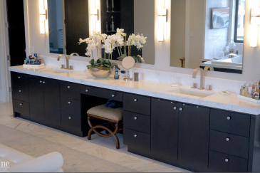 Bathroom double vanity, his and hers, with dark cabinets