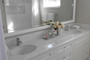 White bathroom with two sinks