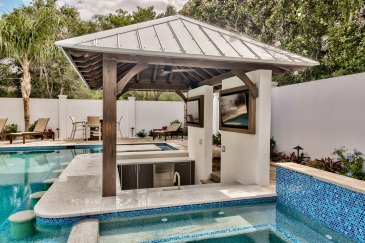 Outdoor cabinets for Miami pool bar