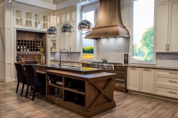 Kitchen design and kitchen remodeling wood island, and white cabinets