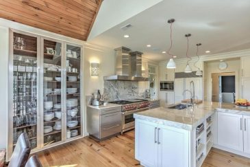 Kitchen remodeling with glass pantry