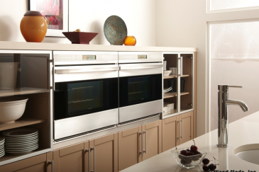 Double oven with custom kitchen cabinets