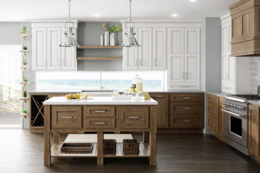 Kitchen design with custom kitchen cabinets, two tone white and wood