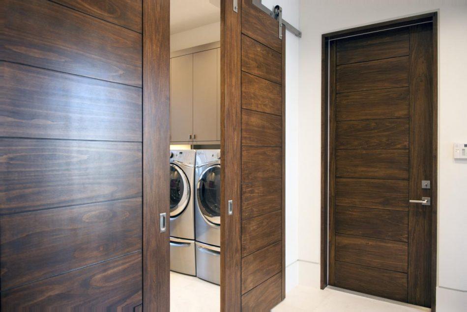 Modern wood laundry room sliding doors