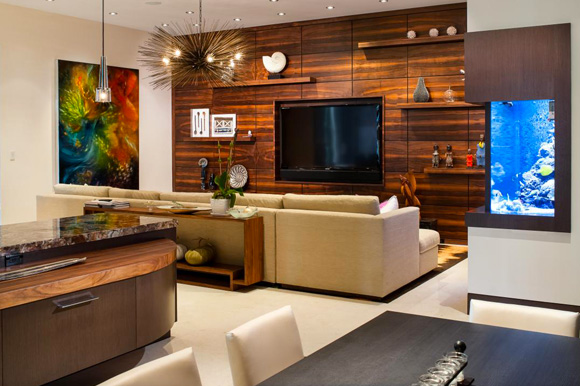 Basement Modern, Custom Wall Units with Entertainment Center in Coral Gables